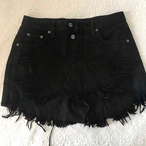 Lf denim black fringe skirt
